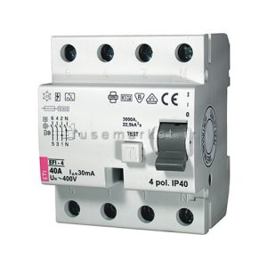 کلید جریان نشتی ای تی آی ETI RCCB EFI 1P+N AC 0.03 63 A